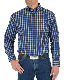 Wrangler Men's Blue George Strait Ombre Plaid Shirt - Tall , , hi-res