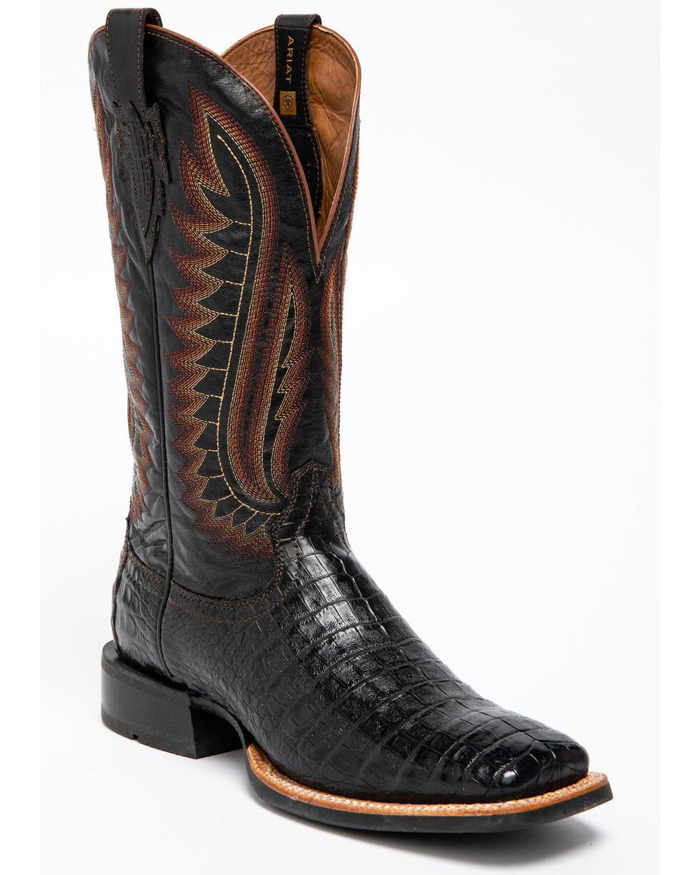 Ariat Men's Double Down Caiman Belly Cowboy Boots - Square Toe, Black, hi-res