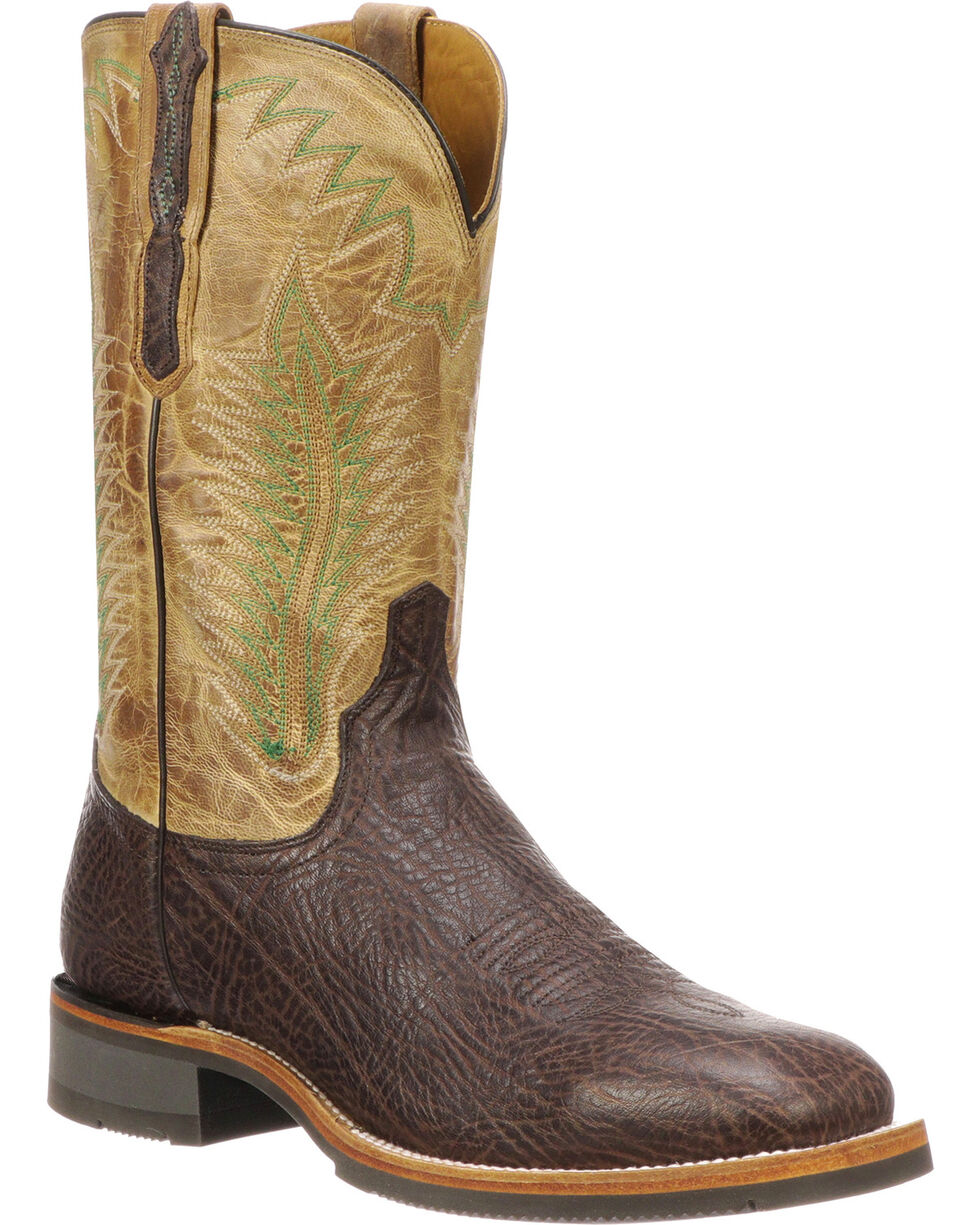 Lucchese Men's Handmade Wyatt Brown/Tan Bull Shoulder Rubber Outsole Barn Boots - Square Toe , Brown, hi-res
