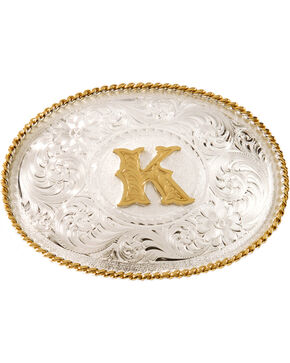 Montana Silversmiths Initial K Western Buckle, Silver, hi-res