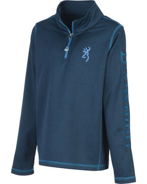 Browning Boys' Blue Pitch Quarter Zip Sweatshirt, Blue, hi-res