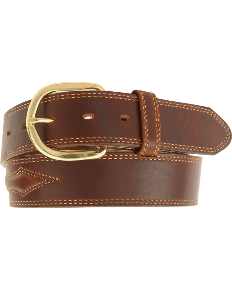 Padded Leather Belt - Reg & Big, Brown, hi-res