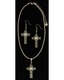 Lightning Ridge Rhinestone-bedecked Cross Charm Necklace Set, , hi-res