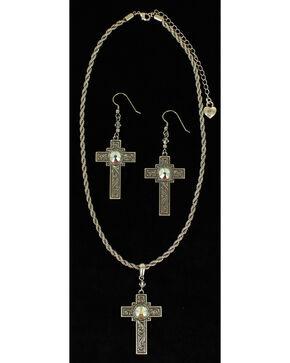 Lightning Ridge Rhinestone-bedecked Cross Charm Necklace Set, Multi, hi-res