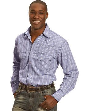Crazy Cowboy Men's Blue Plaid Long Sleeve Western Snap Shirt, Blue, hi-res