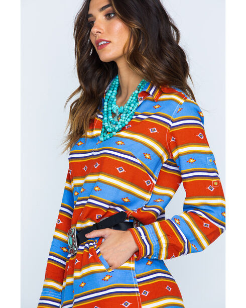 Ryan Michael Indigo Serape Stripe Dress , Indigo, hi-res