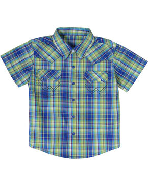 All Around Baby by Wrangler Boys' Short Sleeve Western Shirt, Turquoise Plaid, hi-res