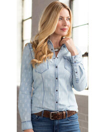 Ryan Michael Women's Geo Print Denim Shirt, , hi-res