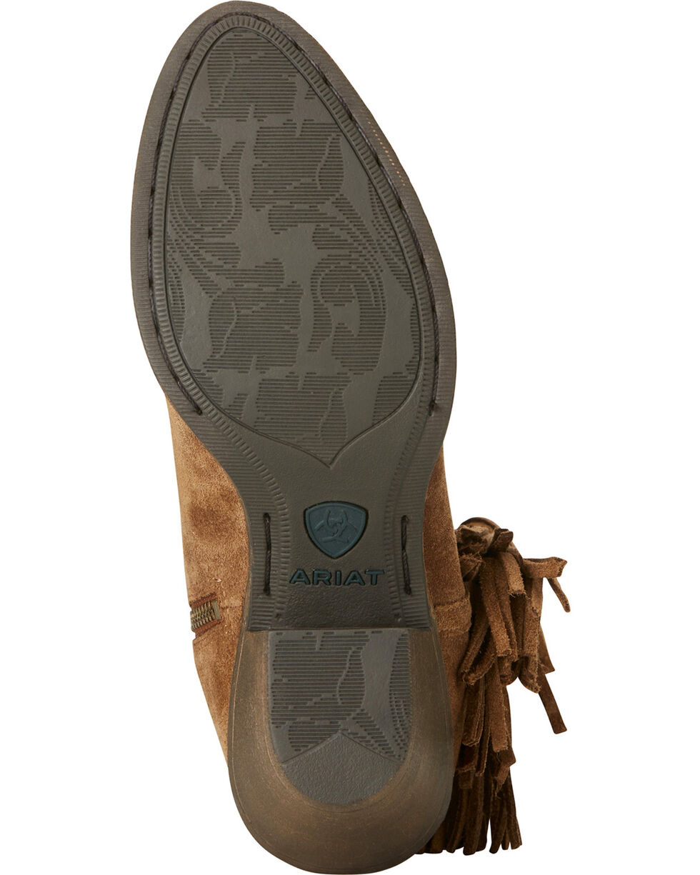 Ariat Women's Tan Duchess Braided Fringe Short Western Boots - Round Toe, Tan, hi-res