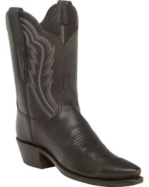 Lucchese Women's Hattie Black Goat Leather Short Western Boots - Snip Toe, , hi-res