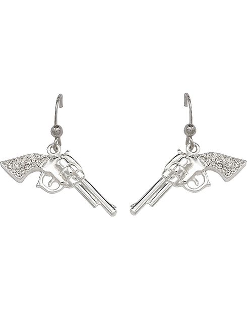 Montana Silversmiths Women's Rhinestone Pistol Hook Earrings, Silver, hi-res