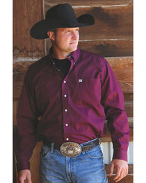 C‌inch Men's Solid Burgundy Button Long Sleeve Shirt, , hi-res