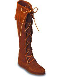 Minnetonka Front Laced Hard Sole Knee-High Fringe Boots, , hi-res