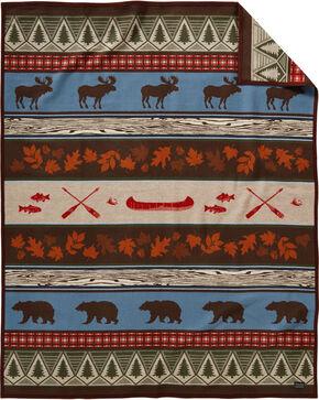 Pendleton Brown Pine Lodge Robe Blanket , Brown, hi-res
