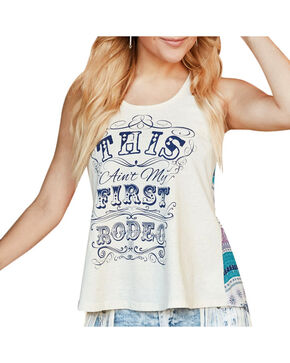 Shyanne® Women's Ain't My First Rodeo Graphic Tank, Ivory, hi-res