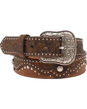 Ariat Women's Leather Studded Belt, Brown, hi-res