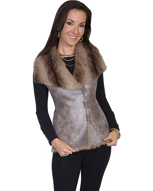 Scully Women's Faux Fur Vest, Brown, hi-res