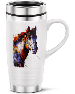 Big Sky Carvers Horse Portrait Traveler Mug, White, hi-res