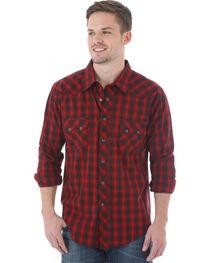 Wrangler Men's Red & Black Plaid Western Jean Shirt, , hi-res