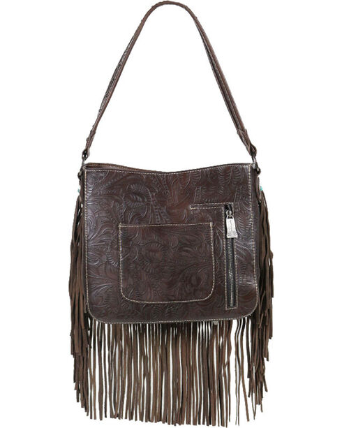 Trinity Ranch Women's Coffee Fringe Tooled Handbag , Taupe, hi-res