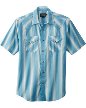 Pendelton Men's Frontier Short Sleeve Shirt , Light Blue, hi-res