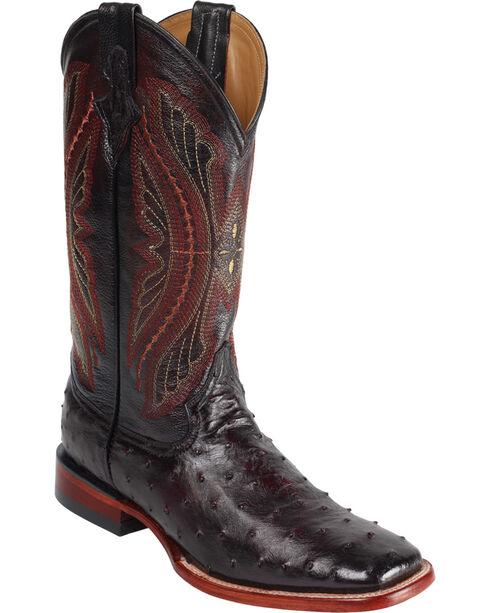 Ferrini Men's Full Quill Ostrich Exotic Western Boots, Black Cherry, hi-res