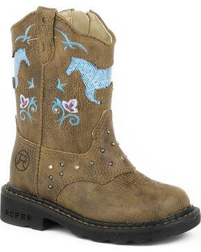 Roper Infant's Horse Flowers Dazzel Lights Western Boots, Tan, hi-res