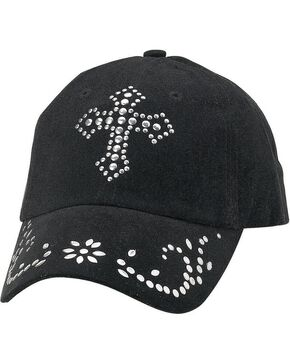 M&F Women's Studded Cross Ball Cap, Black, hi-res