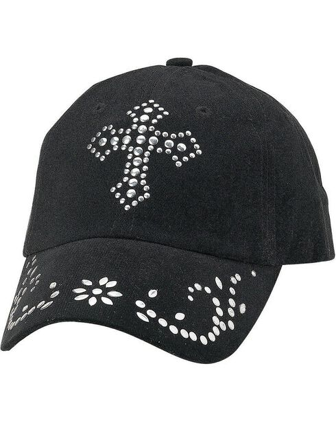 M&F Women's Studded Cross Ball Cap, Black, hi-res