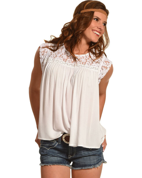 Ariat Women's Candy Short Sleeve Shirt, White, hi-res