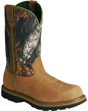 John Deere® Men's Mossy Oak Wellington Boots, Tan, hi-res