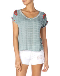 Miss Me Tie-Dye Embroidered Top, Green, hi-res