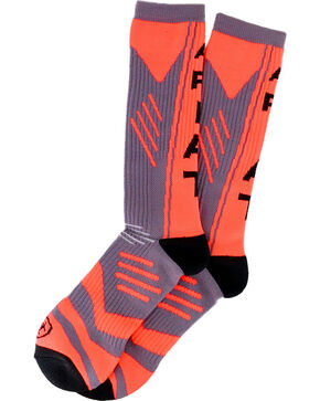 Ariat Men's Logo Performance Crew Socks, Orange, hi-res