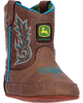 John Deere Infant Embroidered Broad Square Toe Crib Western Boots, Turquoise, hi-res
