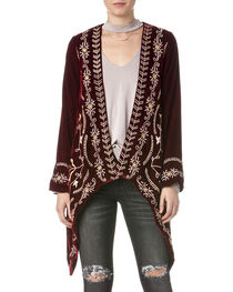Miss Me Women's Embroidered Red Velvet Cardigan, , hi-res
