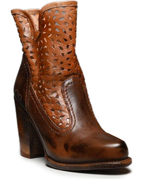 Bed Stu Women's Tan Irma Cutout Booties - Round Toe , Tan, hi-res