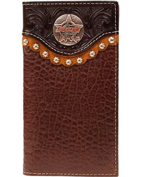 PBR Men's Leather Rodeo Wallet and Checkbook Cover, Brown, hi-res