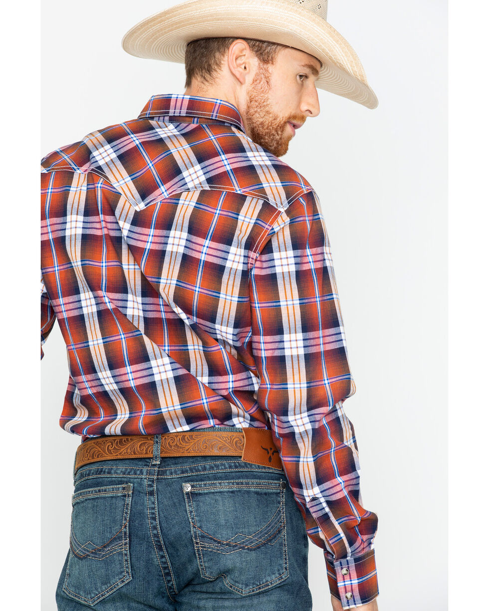 Wrangler Men's Rust RETRO Plaid Western Shirt , Rust Copper, hi-res