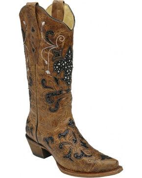 Corral Women's Fleur De Lis Western Boots, Tan, hi-res