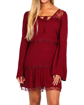 Shyanne Women's Burgundy Lace Tier Bell Sleeve Dress, Burgundy, hi-res