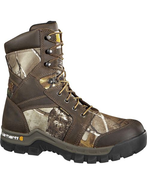 "Carhartt Waterproof Camo 8"" Lace-Up Work Boots - Composite Toe, Camouflage, hi-res"
