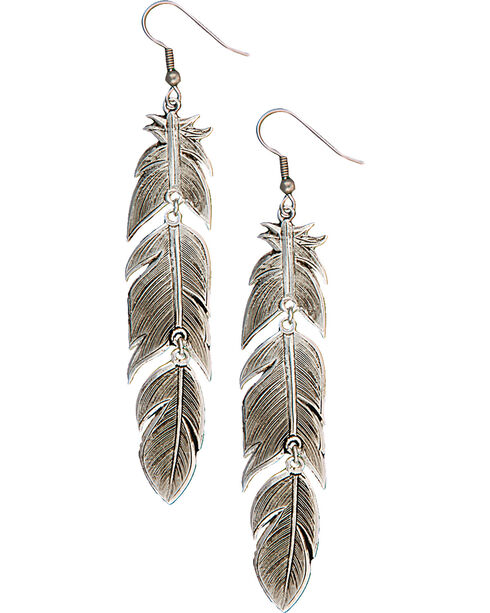 Montana Silversmiths Antiqued Silver Feather Dangle Earrings, Antique Silver, hi-res