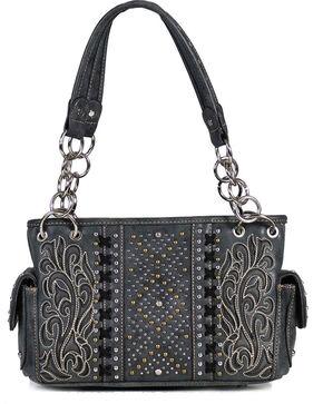Montana West Women's Studded Inlay Shoulder Bag, Black, hi-res
