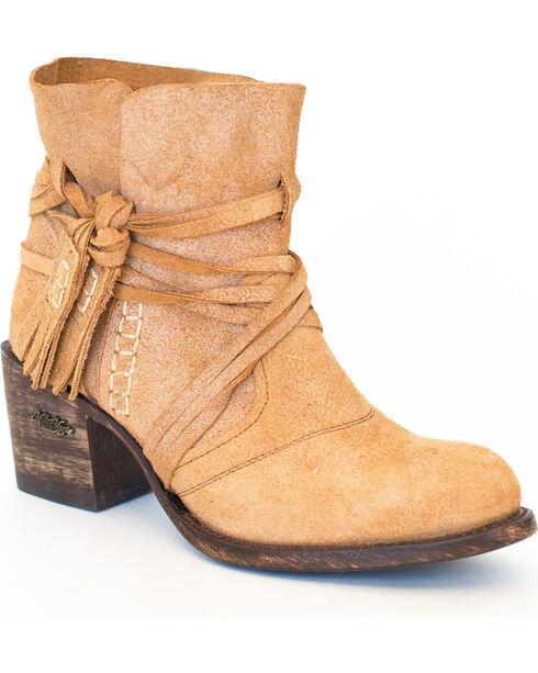 Miss Macie Women's Camel Katie Jo Suede Booties - Round Toe , Cream, hi-res