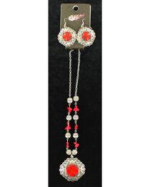 Blazin Roxx Red Stone Cross Necklace & Earrings Set, , hi-res