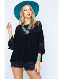Young Essence Women's Lace Off-the-Shoulder Peasant Top, , hi-res