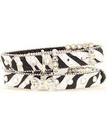 Blazin Roxx Zebra Print Dog Collar - M-L, , hi-res