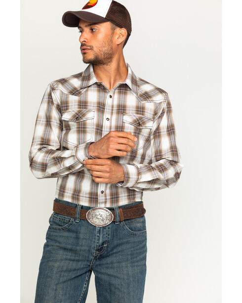 Cody James® Men's Plaid Long Sleeve Shirt, Brown, hi-res