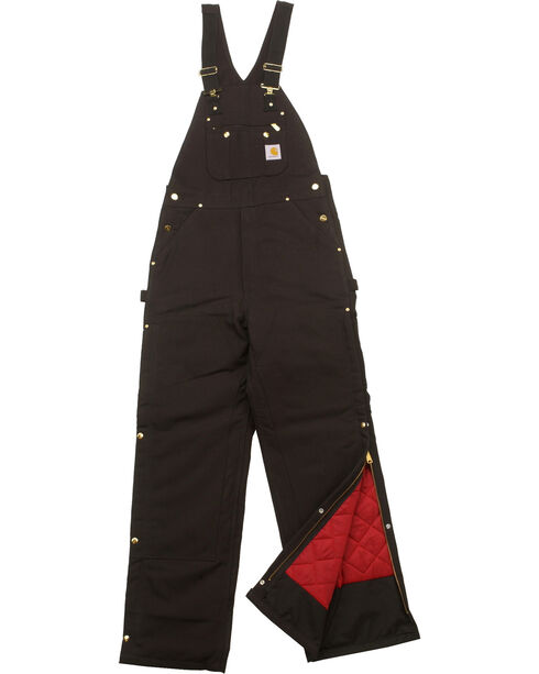 Carhartt Men's Duck Zip-To-Thigh Quilt Lined Bib Overall, Black, hi-res