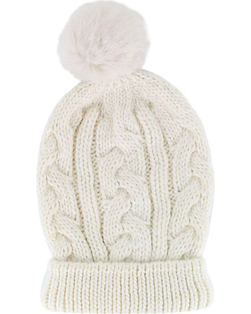 Shyanne® Women's Cable Knit Pompom Beanie, Cream, hi-res